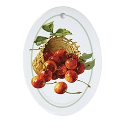 Red Cherries in a Basket Oval Ornament