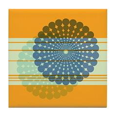 Spirolap Blue & Orange Tile Coaster