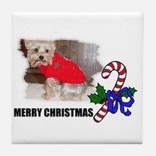 MERRY CHRISTMAS YORKSHIRE TERRIER Tile Coaster