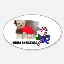 MERRY CHRISTMAS YORKSHIRE TERRIER Oval Decal