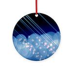 Blue Bokeh Stripes Ornament (Round)