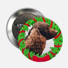 Xmas Amer Water Spaniel Button