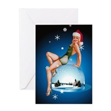 Pinup Girl Christmas Greeting Card