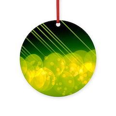 Green Bokeh Stripes Ornament (Round)