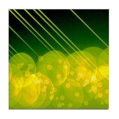Green Bokeh Stripes Tile Coaster
