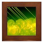 Green Bokeh Stripes Framed Tile