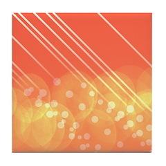 Peach Bokeh Stripes Tile Coaster