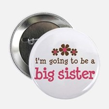 big sister pink brown flower Button