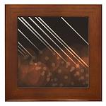 Brown Bokeh Stripes Framed Tile