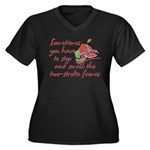 Two-Stroke Roses Women's Plus Size V-Neck Dark T-S