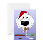 Poodle Santa's Cookies Greeting Card