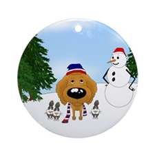 Apricot Poodle Holiday Ornament (Round)