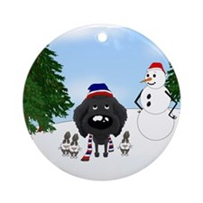 Black Poodle Holiday Ornament (Round)