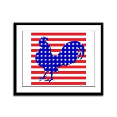 Stars And Stripes Rooster Framed Panel Print