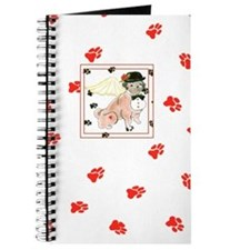 Gulliver's Angels Dudley Pug Red Paw Print Journal