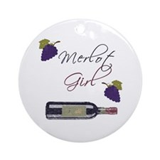 Merlot Girl Ornament (Round)