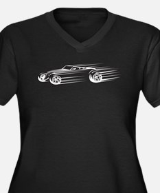 33 Hot Rod Women's Plus Size V-Neck Dark T-Shirt