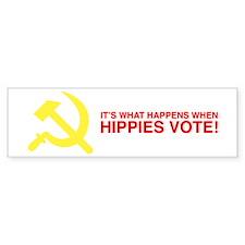 Hippies Vote Bumper Car Sticker