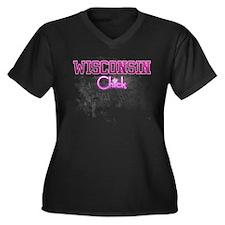 Wisconsin Women's Plus Size V-Neck Dark T-Shirt