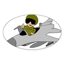 Child Fighter Jet Pilot Oval Decal
