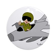 Child Fighter Jet Pilot Ornament (Round)