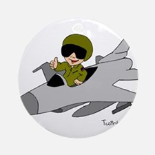 Child Fighter Jet Pilot Ornament (Round)