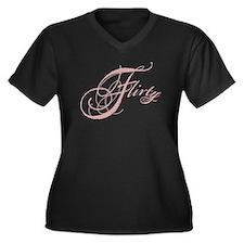 Flirty Girl Women's Plus Size V-Neck Dark T-Shirt