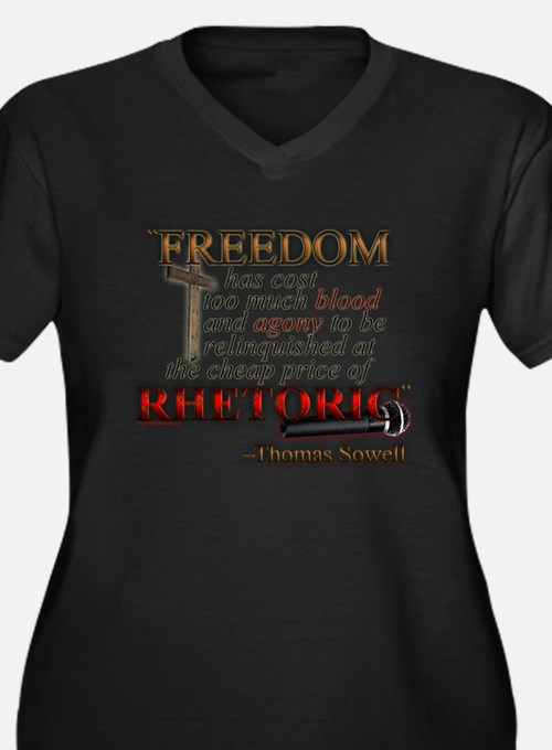 """Freedom for Rhetoric"" Women's Plus Size V-Neck Da"