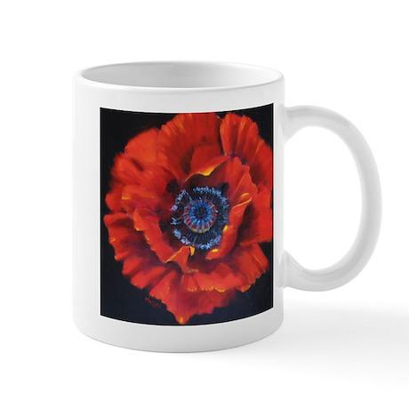 Red Poppy on Black Mug