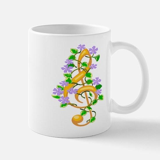 Floral Treble Clef Mug