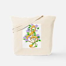 Floral Treble Clef Tote Bag