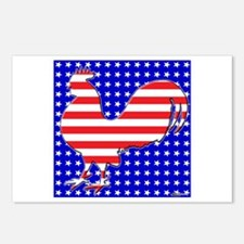 Stripes and Stars Rooster Postcards (Package of 8)