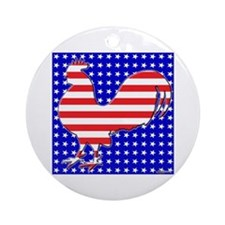 Stripes and Stars Rooster Ornament (Round)