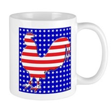 Stripes and Stars Rooster Mug