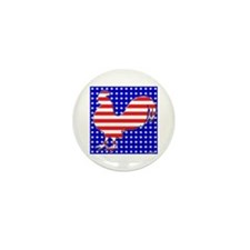 Stripes and Stars Rooster Mini Button (10 pack)