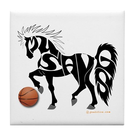 Basketball Team Mustangs (Black Design) Tile Coast