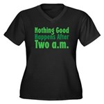 Nothing Good Women's Plus Size V-Neck Dark T-Shirt