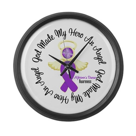 Alzheimer's AngelRibbon Large Wall Clock