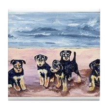 Airedale Terrier puppies Tile Coaster