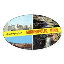 1950's Greetings From Minneapolis Oval Decal