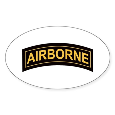Airborne Tab Black and Gold Oval Sticker
