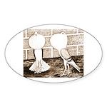Voorburg Pigeon Pair Oval Sticker (10 pk)