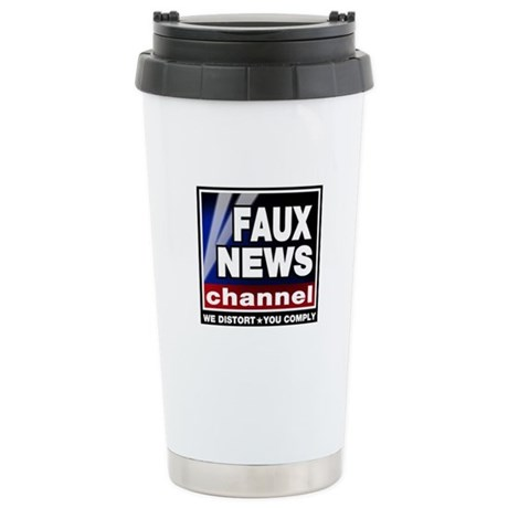 Faux News - On a Stainless Steel Travel Mug