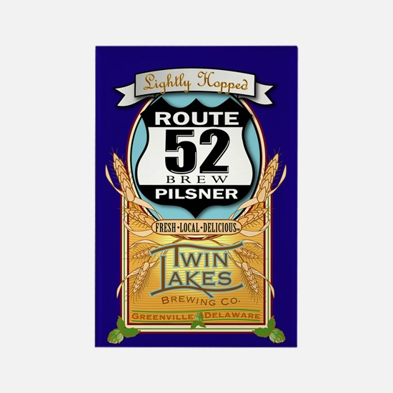 Twin Lakes Route 52 Rectangle Magnet