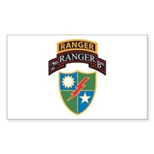 2nd Ranger Bn with Ranger Tab Rectangle Decal