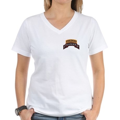 1st Ranger BN Scroll with Ran Women's V-Neck T-Shi