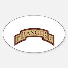 1st Ranger Bn Scroll Desert Oval Decal