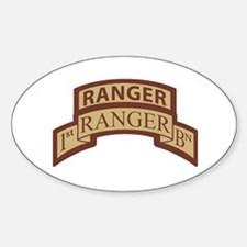 1st Ranger Bn Scroll/ Tab Des Oval Decal