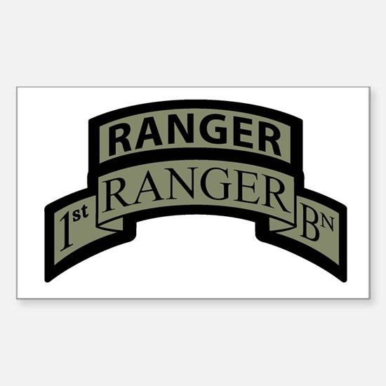 1st Ranger Bn with Ranger Tab Rectangle Decal