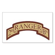 2nd Ranger Bn Scroll Desert Rectangle Decal